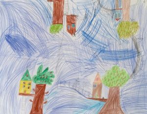 Plakatgemälde, auf dem man vier verschiedene miteinander verbundene Baumhäuser sieht