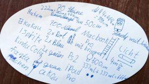 Notizkarte mit Schülervision zum Baumhausbau