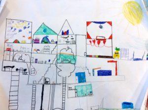 Schülerplakat, auf dem man ein gemeinsames Baumhaus sieht