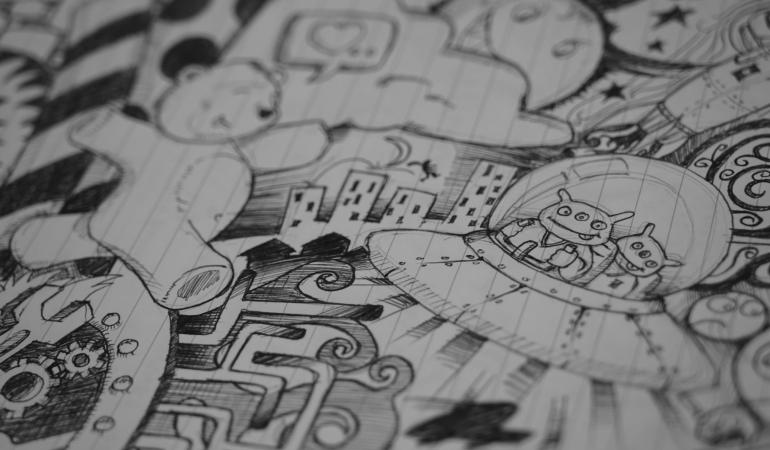 Bleistiftskizze eines Comicausschnitts