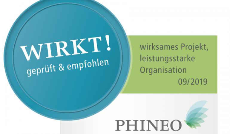 Phineo-Wirkt-Siegel in türkis grünen Farben