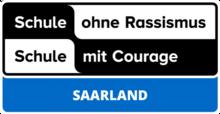 Logo Schule ohne Rassismus mit Courage Saarland