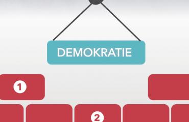 Kran hebt das Schild Demokratie in eine Reihe weiterer Bausteine