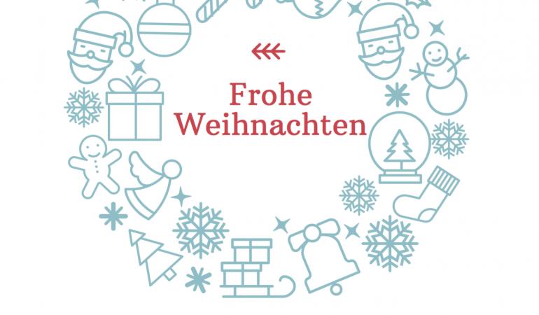 Kranz mit Socke, Schneesterne und anderen weihnachtlichen Motiven in Türkis. Darin steht frohe Weihnachten, darunter und einen wundervollen Start ins neue Jahr, wünschen wir herzlich allen Menschen. Darunter das Logo des Adolf-Bender-Zentrums