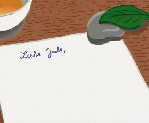 Der Anfang eines Briefes ist zu sehen. Darauf steht: Liebe Jule
