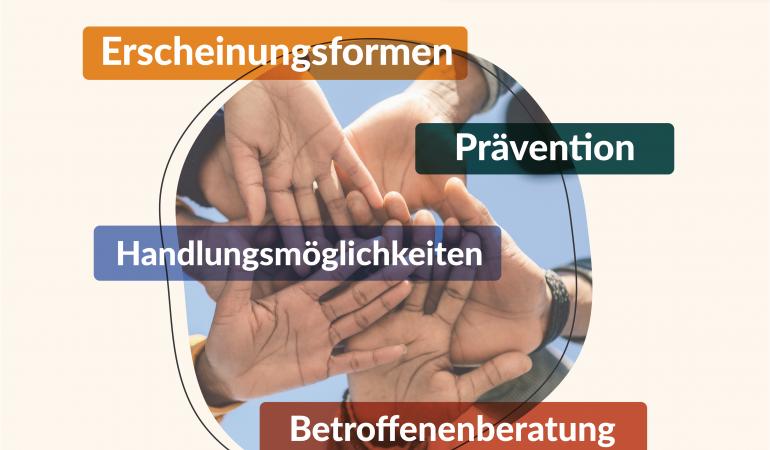 Das Titelbild der Fachtagung zeigt mehrere übereinanderliegende Hände sowie den Veranstaltungstitel, die Schlagworte und das Datum der Fachtagung.