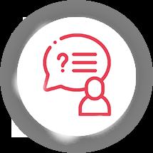 Icon Männchen mit Sprechblase darin Linien und ein Fragezeichen